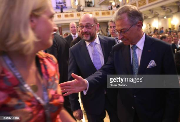 Martin Schulz head of the German Social Democrats and SPD chancellor candidate in German federal elections scheduled for September arrives with BDI...