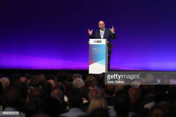 Martin Schulz head of the German Social Democrats and SPD chancellor candidate in German federal elections scheduled for September speaks at the...