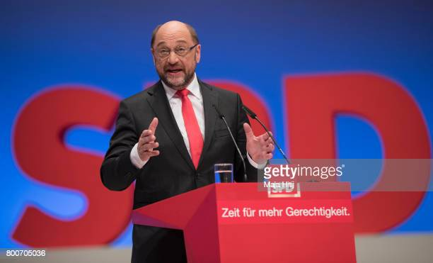 Martin Schulz head of the German Social Democrats and SPD chancellor candidate in German federal elections scheduled for September speaks to...