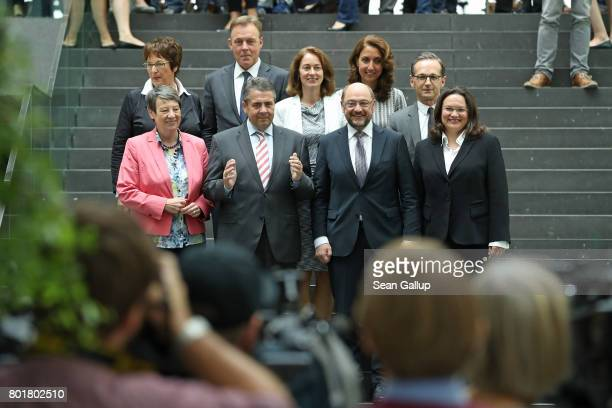 Martin Schulz head of the German Social Democrats and SPD chancellor candidate poses with leading SPD members Environment Minister Barbara Hendricks...