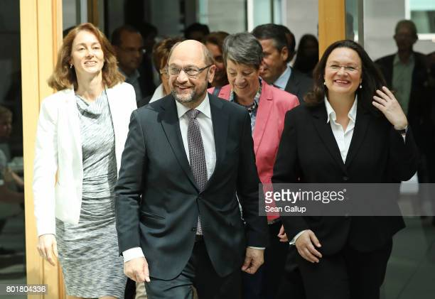 Martin Schulz head of the German Social Democrats and SPD chancellor candidate is flanked by leading female members of his party including Family...