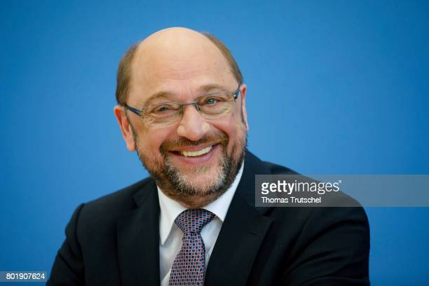 Martin Schulz head of the German Social Democrats and SPD chancellor candidatespeaks to the media on June 27 2017 in Berlin Germany Schulz and...