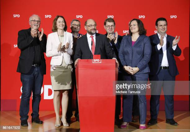 Martin Schulz head of the German Social Democrats Katarina Barley Chief of the SPD Bundestag Fraction Andrea Nahles Ralf Stegner General Secretary...