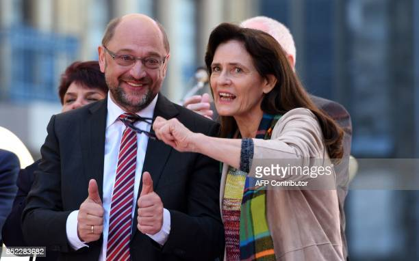Martin Schulz leader of Germany's social democratic SPD party and candidate for Chancellor and his wife Inge Schulz attend an electoral meeting on...