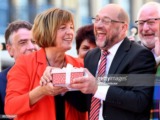 Martin Schulz leader of Germany's social democratic SPD party and candidate for Chancellor and vicepresident of the Bundestag Ulla Schmidt hold a...