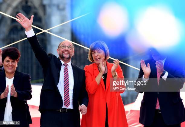 Martin Schulz leader of Germany's social democratic SPD party and candidate for Chancellor stands next to vicepresident of the Bundestag Ulla Schmidt...