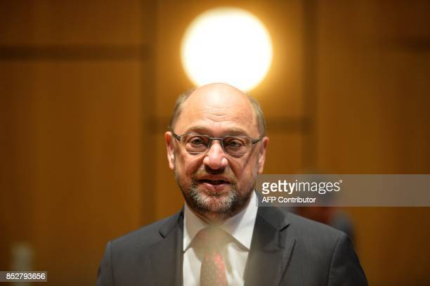Martin Schulz leader of Germany's social democratic SPD party and candidate for Chancellor arrives to cast his ballot at a polling station in...