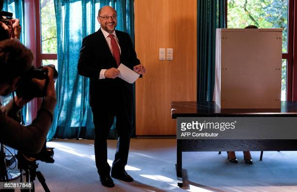 Martin Schulz leader of Germany's social democratic SPD party and candidate for Chancellor prepares to cast his ballot at a polling station in...