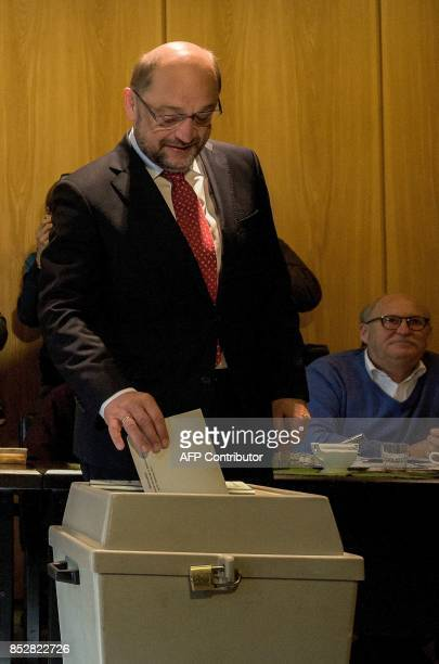 Martin Schulz leader of Germany's social democratic SPD party and candidate for Chancellor casts his ballot at a polling station in Wuerselen near...