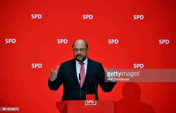 Martin Schulz leader of Germany's social democratic SPD party gives a press conferernce on October 16 2017 in Berlin one day after regional elections...