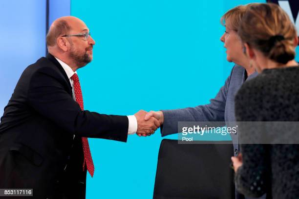 Martin Schulz leader of the Social Democratic Party and top candidate for Chancellor and German Chancellor Angela Merkel of the Christian Democratic...