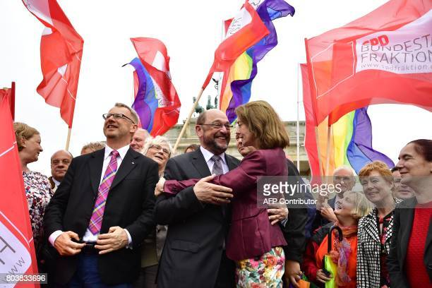 Martin Schulz leader of the social democratic SPD party and candidate for chancellor and German Family Minister Katarina Barley attend a rally of...