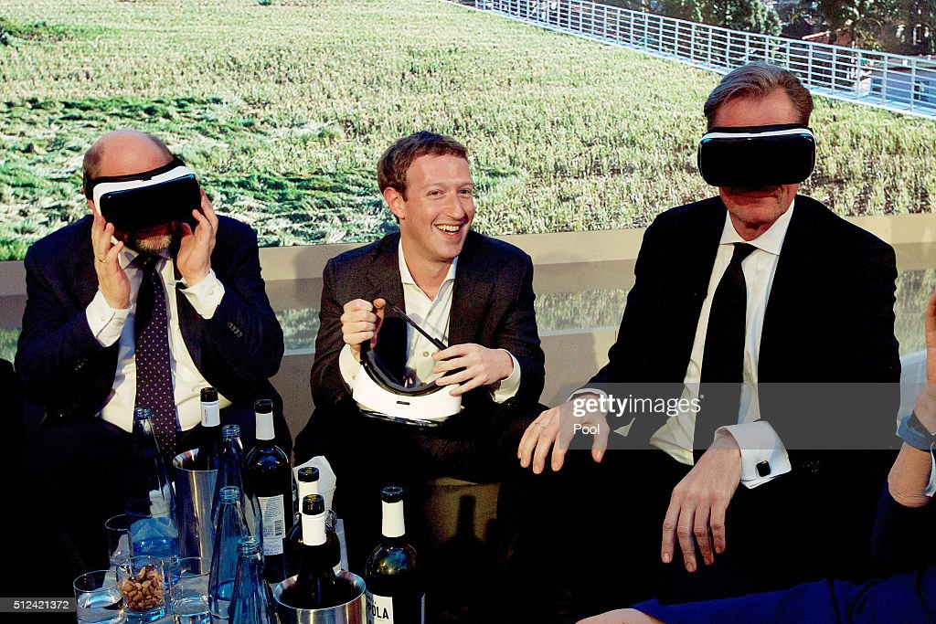 Martin Schulz, Mark Zuckerberg and Mathias Doepfner attend the presentation of the first Axel Springer Award on February 25, 2016 in Berlin, Germany.
