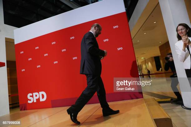 Martin Schulz newlyelected chairman and chancellor candidate of the German Social Democrats departs after speaking to SPD memberrs at SPD...