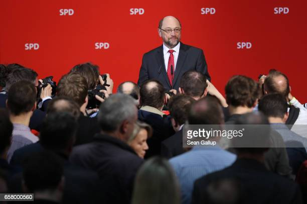 Martin Schulz newlyelected chairman and chancellor candidate of the German Social Democrats arrives to speak to SPD memberrs at SPD headquarters in...
