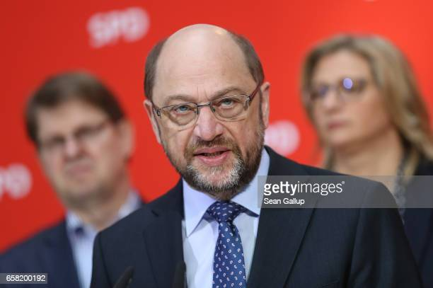 Martin Schulz newlyelected chairman and chancellor candidate of the German Social Democrats speaks to the media at SPD headquarters the day after...