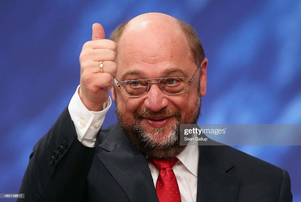 Martin Schulz, President of the European Parliament and member of the German Social Democrats (SPD), gestures after SPD delegates re-elected Schulz with 93% as SPD European Parliament delegate on January 26, 2014 in Berlin, Germany. The SPD is holding a federal congress to elect its European Parliament delegates as well as to chart its domestic political future. The SPD is the junior member of the new German coalition government.