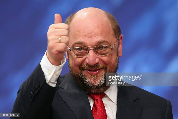 Martin Schulz President of the European Parliament and member of the German Social Democrats gestures after SPD delegates reelected Schulz with 93%...