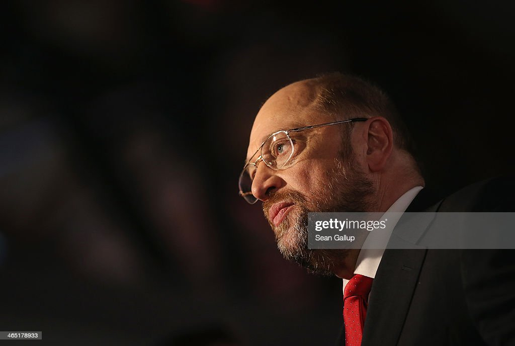 Martin Schulz, President of the European Parliament and member of the German Social Democrats (SPD), gives a television interview after SPD delegates re-elected Schulz with 97% as SPD European Parliament lead candidate on January 26, 2014 in Berlin, Germany. The SPD is holding a federal congress to elect its European Parliament candidates as well as to chart its domestic political future. The SPD is the junior member of the new German coalition government.