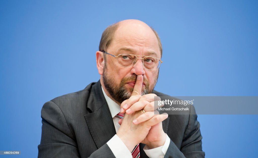 <a gi-track='captionPersonalityLinkClicked' href=/galleries/search?phrase=Martin+Schulz&family=editorial&specificpeople=598638 ng-click='$event.stopPropagation()'>Martin Schulz</a>, President of the European Parliament, attends a press conference on May 5, 2014 in Berlin, Germany. Subject of the press conference is Schulz candidature as socialist top candidate for the election of the european parliament.