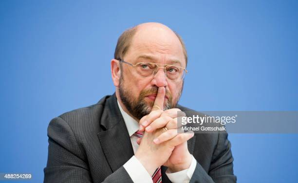 Martin Schulz President of the European Parliament attends a press conference on May 5 2014 in Berlin Germany Subject of the press conference is...