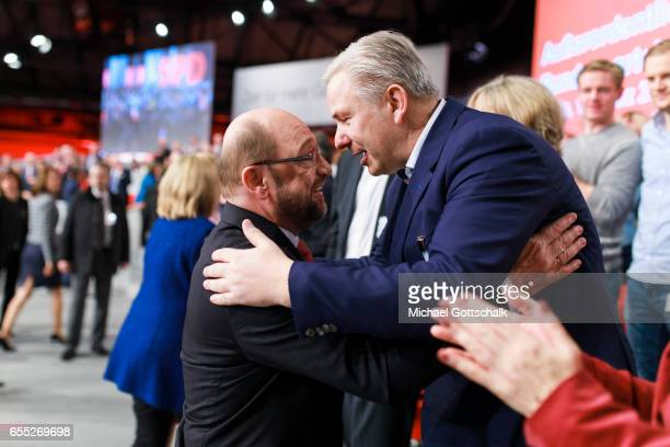 Martin Schulz SPD Top Candidate for 2017 Federal Election next to former Berlin Mayor Klaus Wowereit at SPD Federal Party Congress on March 19 2017...