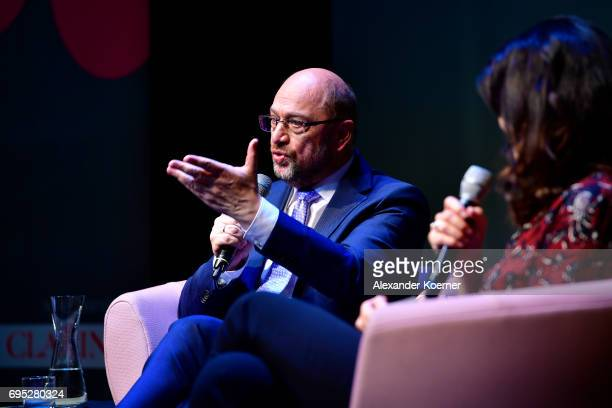 Martin Schulz speaks to guests during the Brigitte Live talk at Maxim Gorki Theater on June 12 2017 in Berlin Germany