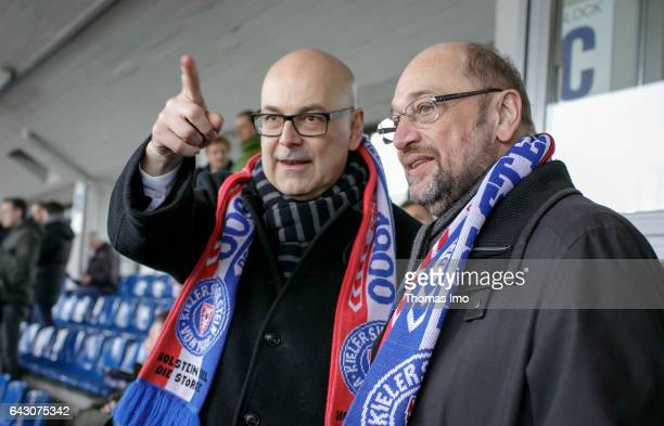 Martin Schulz the chancellor candidate of the German Social Democrats visits the soccer game HolsteinKiel versus Fortuna Koeln on February 19 in Kiel...