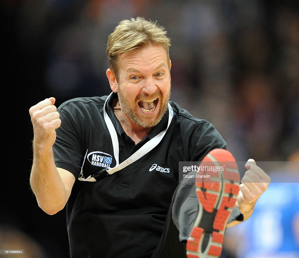 <a gi-track='captionPersonalityLinkClicked' href=/galleries/search?phrase=Martin+Schwalb&family=editorial&specificpeople=607901 ng-click='$event.stopPropagation()'>Martin Schwalb</a>, head coach of Hamburg celebrates during the Bundesliga match between Hamburger SV and SC Magdeburg at the O2 world on February 12, 2013 in Hamburg, Germany.