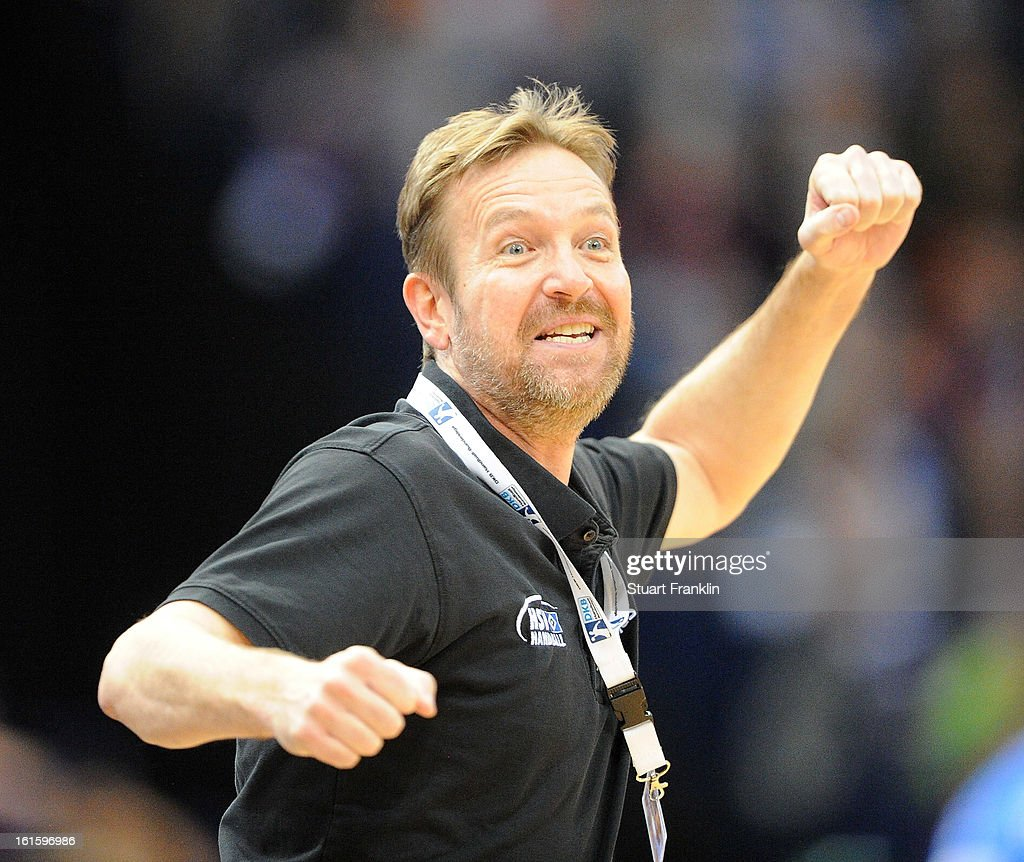Martin Schwalb head coach of Hamburg celebrates during the Bundesliga match between Hamburger SV and SC Magdeburg at the O2 world on February 12 2013...