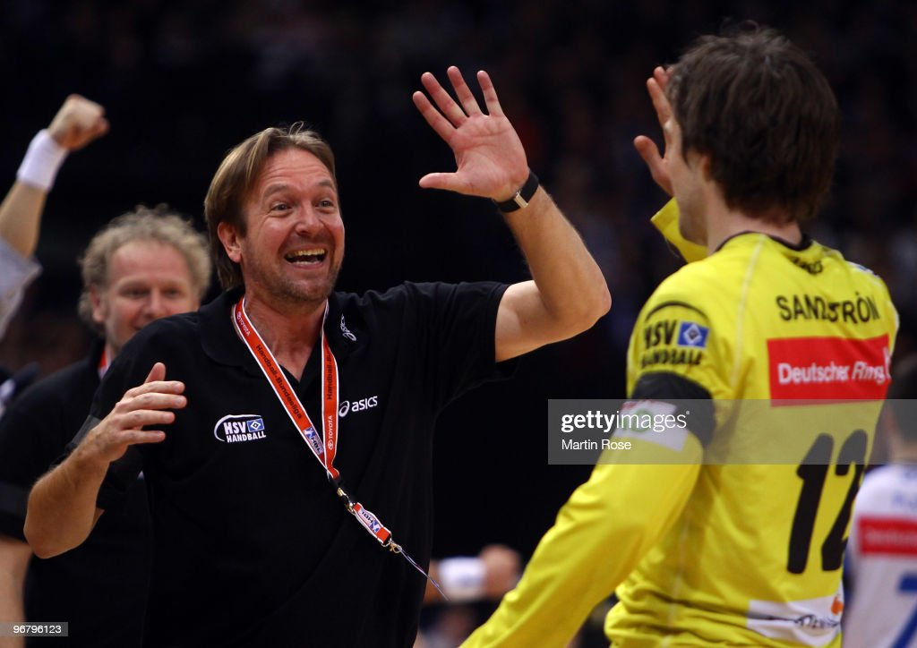 Martin Schwalb head coach of Hamburg celebrates during the Bundesliga match between HSV Hamburg and Rhein Neckar Loewen at the Color Line Arena on...