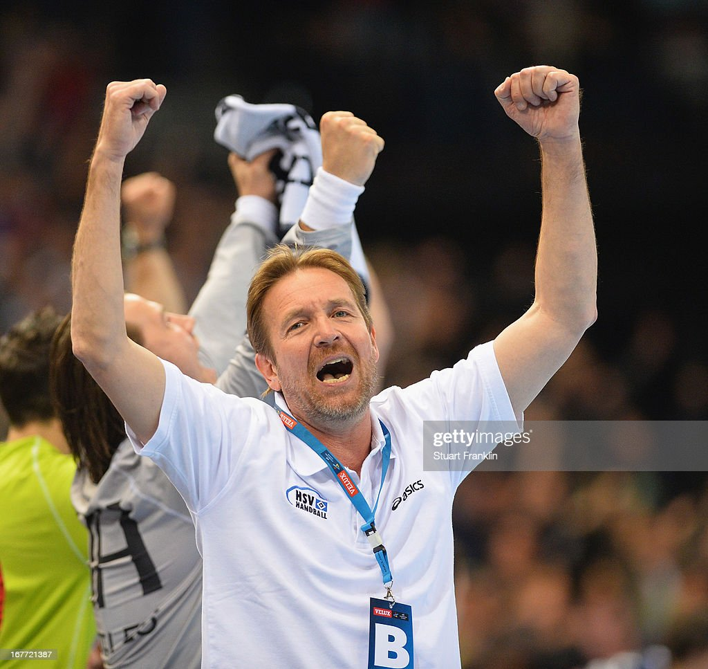 Martin Schwalb head coach of Hamburg celebrates during the Velux EHF Champions League quarter final second leg match between HSV Handball and SG...
