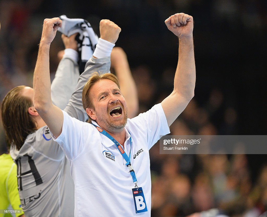 <a gi-track='captionPersonalityLinkClicked' href=/galleries/search?phrase=Martin+Schwalb&family=editorial&specificpeople=607901 ng-click='$event.stopPropagation()'>Martin Schwalb</a>, head coach of Hamburg celebrates during the Velux EHF Champions League quarter final second leg match between HSV Handball and SG Flensburg-Handewitt at O2 World on April 28, 2013 in Hamburg, Germany.