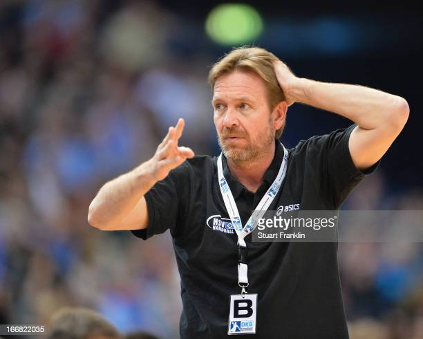 Martin Schwalb head coach of Hamburg gestures during the DKB Bundesliga handball game between HSV Hamburg and TUSEM Essen at O2 World on April 17...