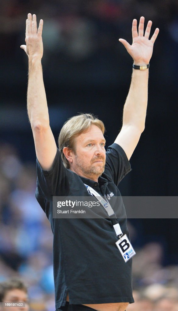 Martin Schwalb head coach of Hamburg gestures during the DKB Bundeliga match between HSV Hamburg and Fuechse Berlin at O2 World on May 21 2013 in...