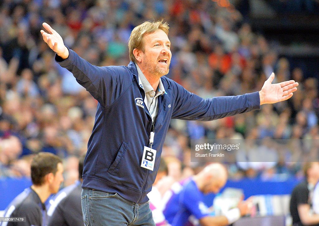 Martin Schwalb head coach of Hamburg gestures during the DKB Bundesliga handball match between HSV Handball and Fuechse Berlin at O2 World on March...