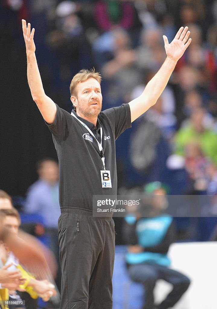 Martin Schwalb, head coach of Hamburg reacts during the Bundesliga match between Hamburger SV and SC Magdeburg at the O2 world on February 12, 2013 in Hamburg, Germany.