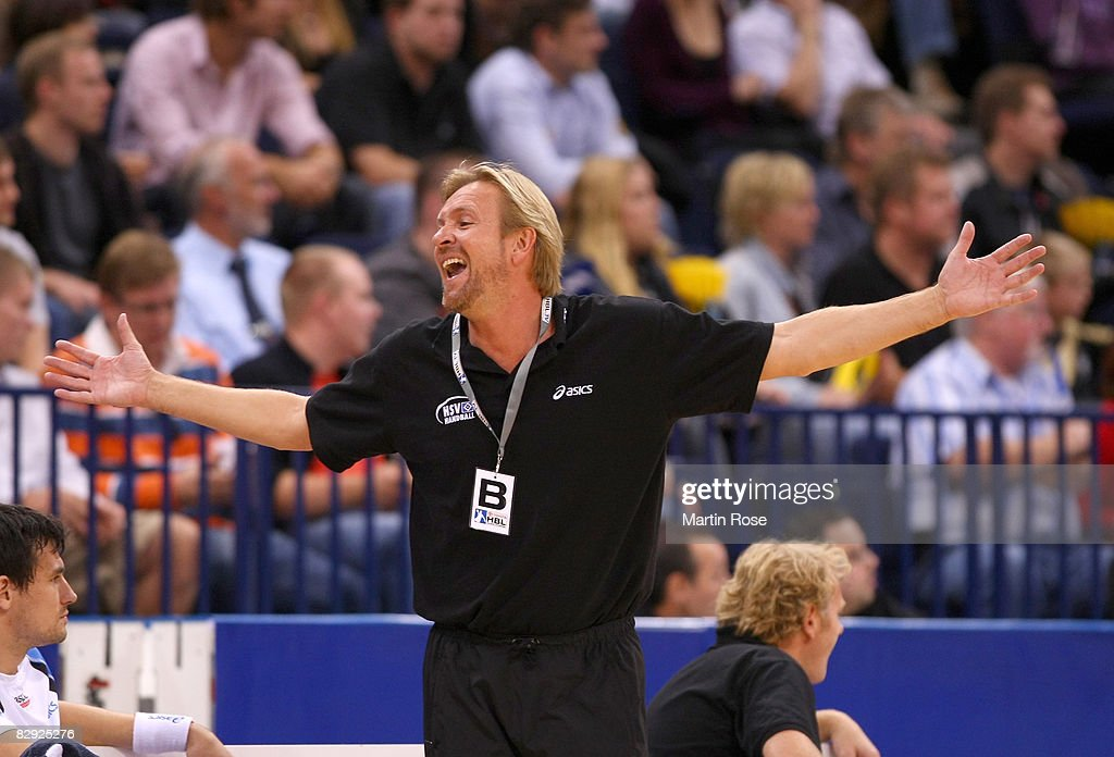 Martin Schwalb, head coach of Hamburg reacts during the Bundesliga match between HSV Hamburg and SC Magdeburg at the Color Line Arena on September 20, 2008 in Hamburg, Germany.