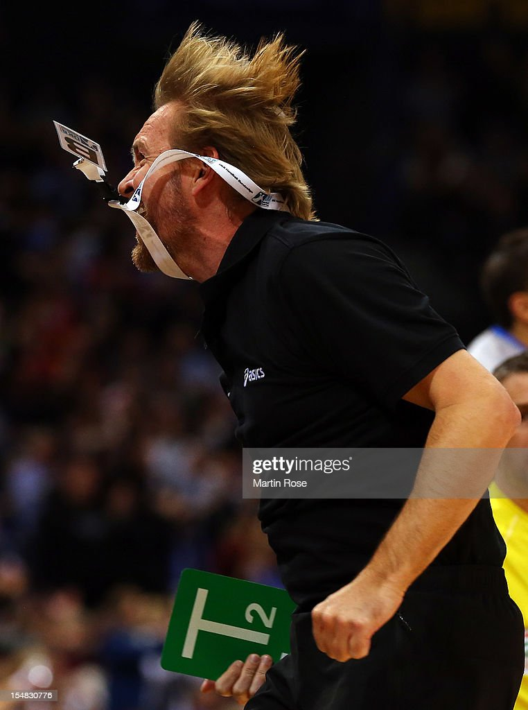 Martin Schwalb head coach of Hamburg reacts during the DKB Handball Bundesliga match between HSV Hamburg and THW Kiel at the O2 World on October 27...