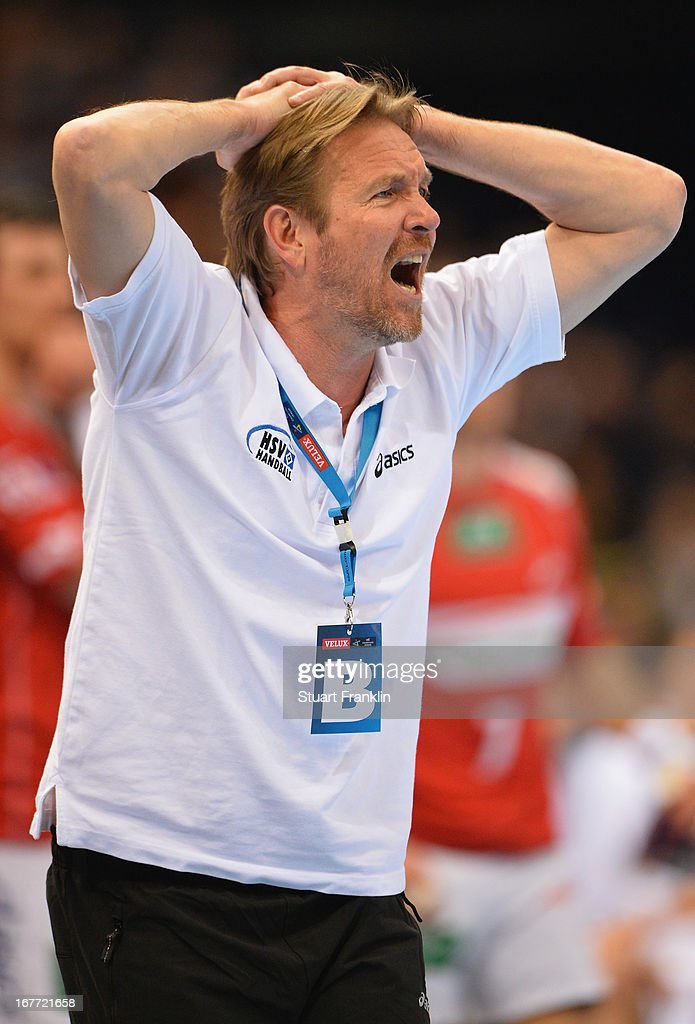 Martin Schwalb head coach of Hamburg reacts during the Velux EHF Champions League quarter final second leg match between HSV Handball and SG...