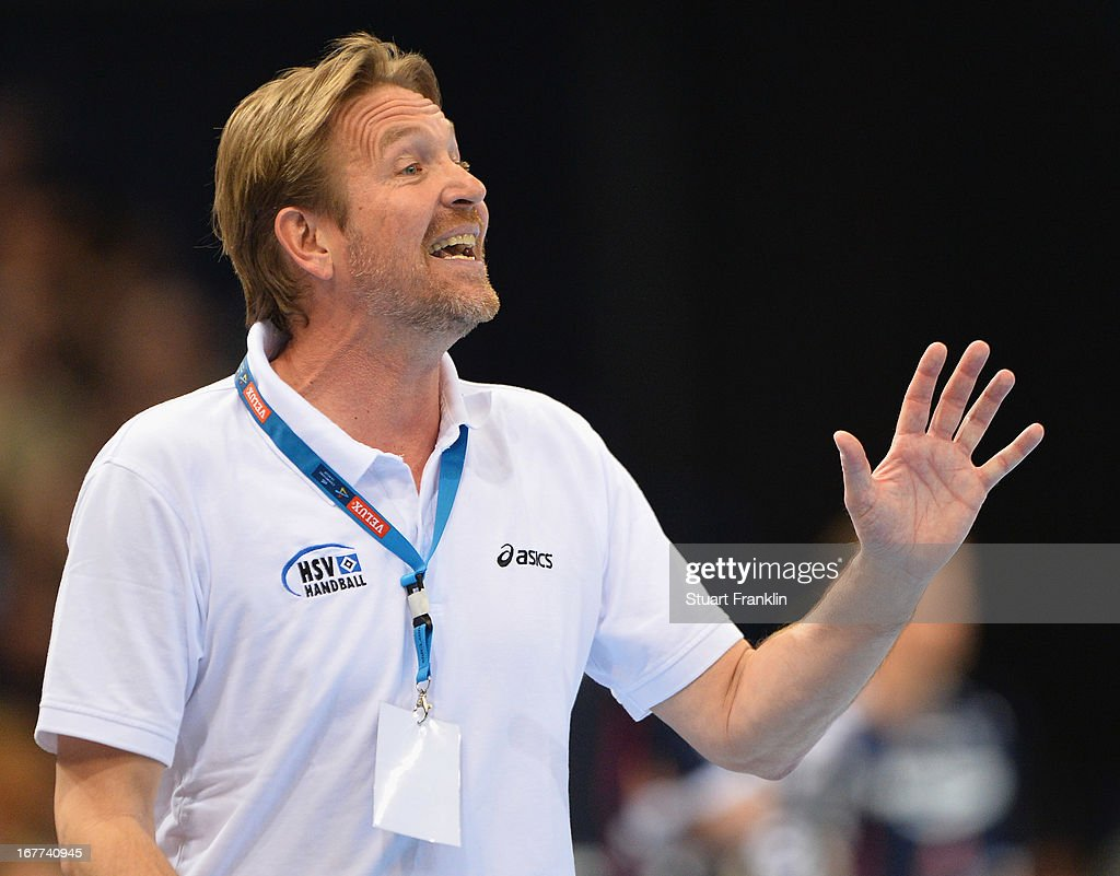 <a gi-track='captionPersonalityLinkClicked' href=/galleries/search?phrase=Martin+Schwalb&family=editorial&specificpeople=607901 ng-click='$event.stopPropagation()'>Martin Schwalb</a>, head coach of Hamburg reacts during the Velux EHF Champions League quarter final second leg match between HSV Handball and SG Flensburg-Handewitt at O2 World on April 28, 2013 in Hamburg, Germany.