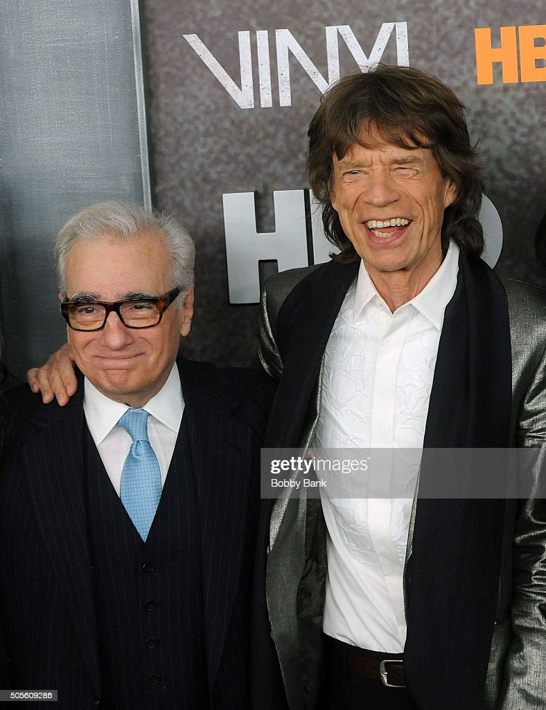 Martin Scorsese and Mick Jagger attends the 'Vinyl' New York Premiere at Ziegfeld Theatre on January 15, 2016 in New York City.