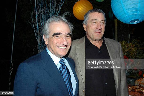 Martin Scorsese and Robert De Niro attend 'Sharkspeare in the Park' the New York premiere of the movie 'Shark Tale' at the Delacorte Theatre They...