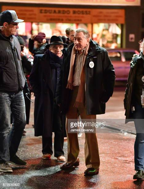 Martin Scorsese and Robert De Niro seen on location for 'The Irishman' on the Lower East Side on November 17 2017 in New York City