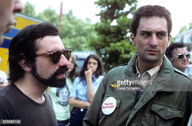 Martin Scorsese and Robert DeNiro on the set of Taxi Driver