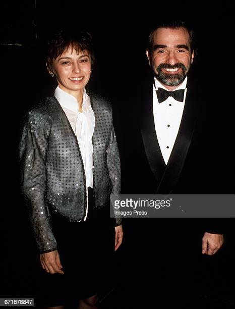 Martin Scorsese and wife Barbara De Fina attend the 'Hooray For Hollywood' AIDS Benefit held at Bloomingdale's circa 1988 in New York City