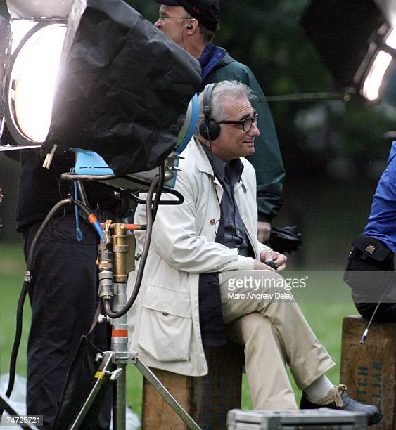 Martin Scorsese at the Matt Damon and Martin Scorsese on Location for ''The Departed'' in Boston Mass July 7 2005 at Boston Commons in Boston...