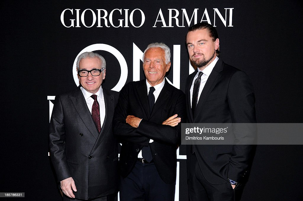 <a gi-track='captionPersonalityLinkClicked' href=/galleries/search?phrase=Martin+Scorsese&family=editorial&specificpeople=201976 ng-click='$event.stopPropagation()'>Martin Scorsese</a>, Giorgio Armani and <a gi-track='captionPersonalityLinkClicked' href=/galleries/search?phrase=Leonardo+DiCaprio&family=editorial&specificpeople=201635 ng-click='$event.stopPropagation()'>Leonardo DiCaprio</a> attend Giorgio Armani One Night Only NYC at SuperPier on October 24, 2013 in New York City.