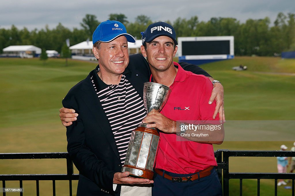 Martin Senn, chief executive officer of Zurich Financial Services poses for a photo with Billy Horschel after winning the final round of the Zurich Classic of New Orleans at TPC Louisiana on April 28, 2013 in Avondale, Louisiana.