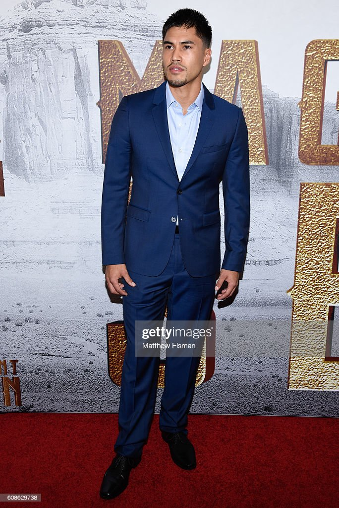 Martin Sensmeier attends 'The Magnificent Seven' New York premiere at Museum of Modern Art on September 19, 2016 in New York City.